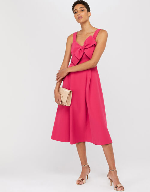 Alexa Bow Fit and Flare Dress, Pink (PINK), large