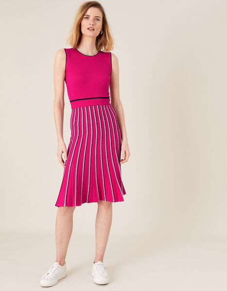 Mimi Ribbed Knit Sleeveless Dress Pink, Pink (PINK), large