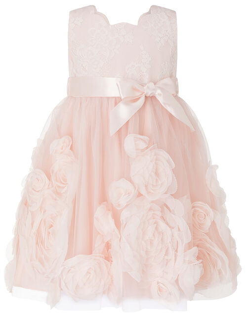 Baby Macaroon Occasion Dress with 3D Flowers, Pink (PINK), large