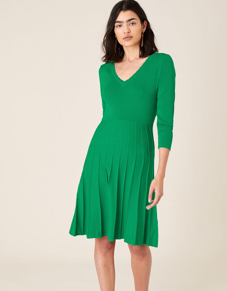 Scallop V-Neck Dress with Sustainable Viscose Green, Green (GREEN), large