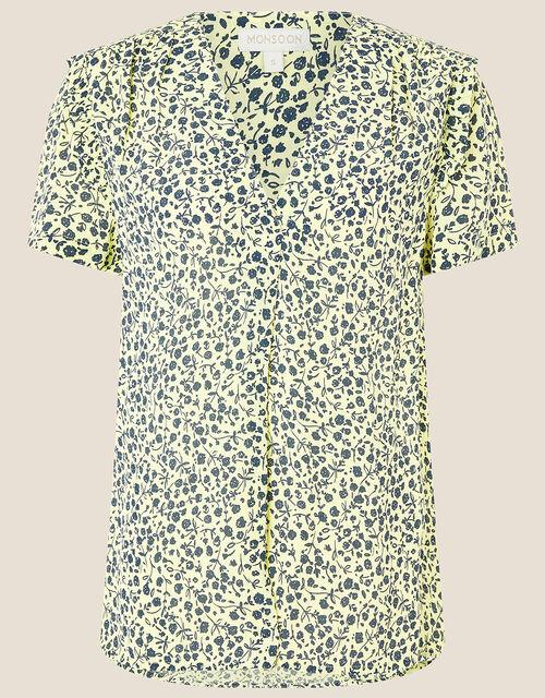 Wilamina Ditsy Print Top, Yellow (YELLOW), large