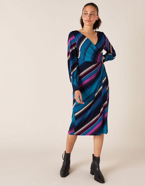 Stripe Print Wrap Jersey Midi Dress Teal, Teal (TEAL), large