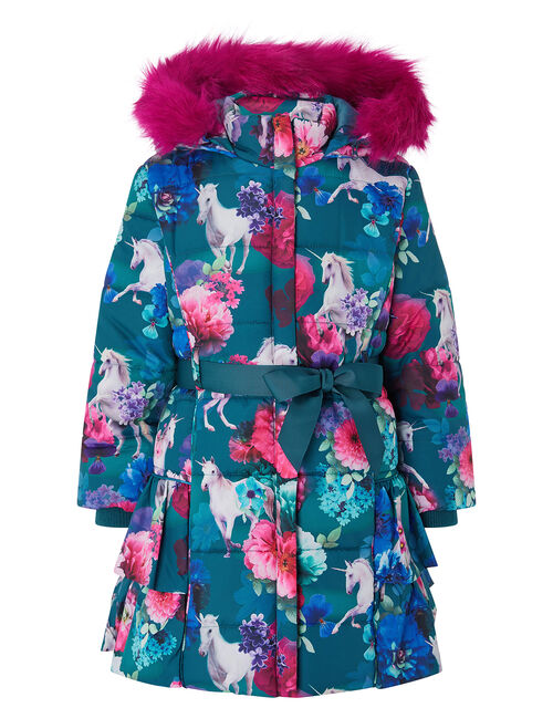 Unicorn Ruffle Padded Coat with Recycled Fabric, Teal (TEAL), large