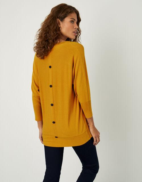 Amalie V-Neck Button Back Jumper, Yellow (OCHRE), large