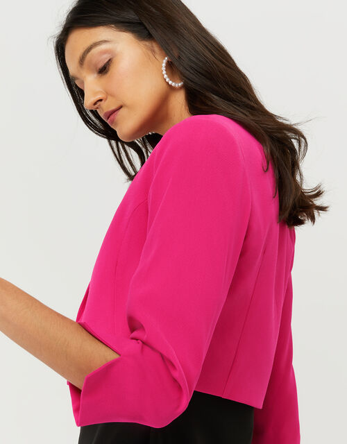 Juni Sustainable Cropped Smart Jacket, Pink (PINK), large
