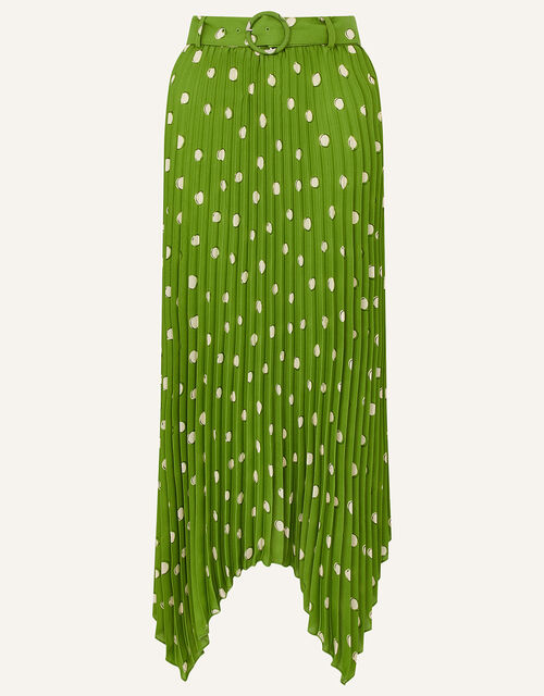 Spot Print Pleated Midi Skirt, Green (GREEN), large