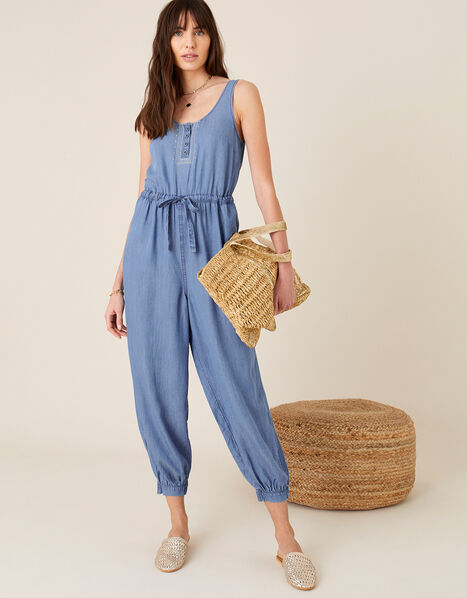 Beach Jumpsuit in LENZING™ TENCEL™ Blue, Blue (DENIM BLUE), large