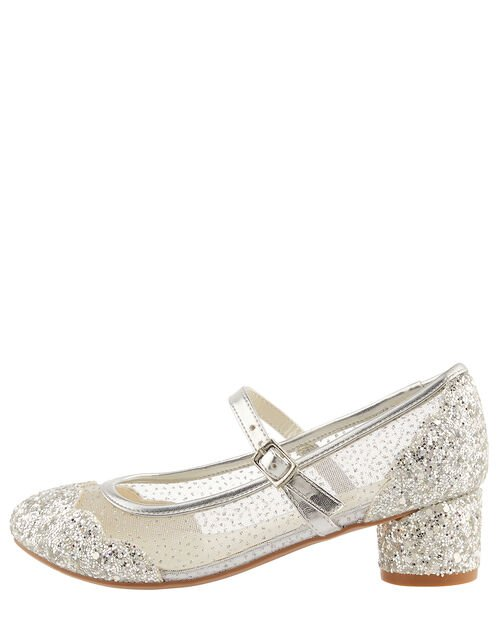 Anabelle Scallop Glitter Princess Shoes, Silver (SILVER), large