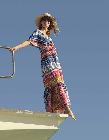 Rupert Striped Floral Maxi Dress in LENZING™ ECOVERO™ Blue, Blue (BLUE), large