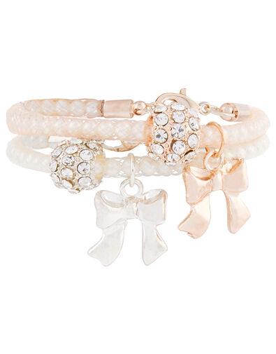 Bow Charm Pearl-Encased Bracelets, , large