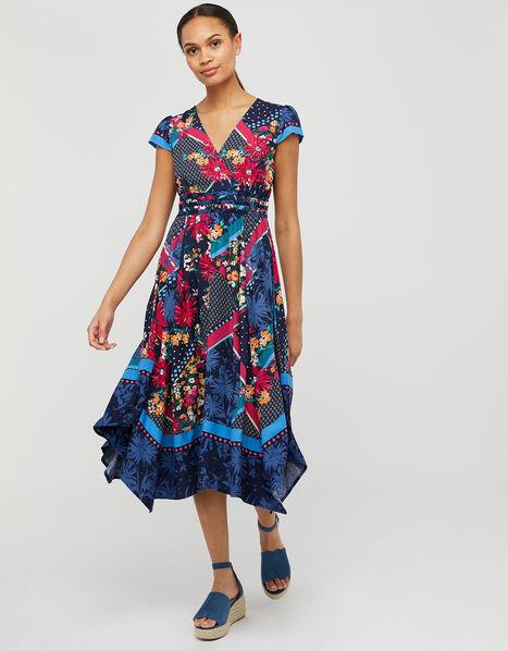 Grace Contrast Floral Print Dress in LENZING™ ECOVERO™ Blue, Blue (NAVY), large