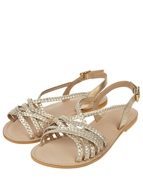 Primrose Plaited Strap Leather Sandals, Gold (GOLD), large