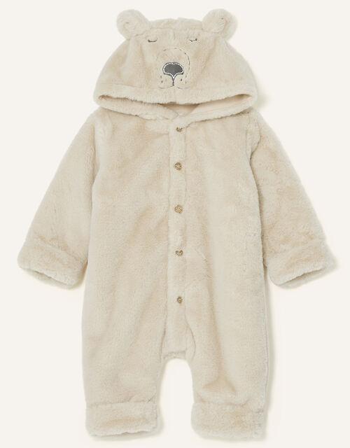 Newborn Bear Soft Pramsuit, Camel (BEIGE), large
