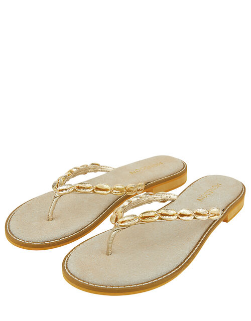 Shelly Metallic Shell Flip Flops, Gold (GOLD), large