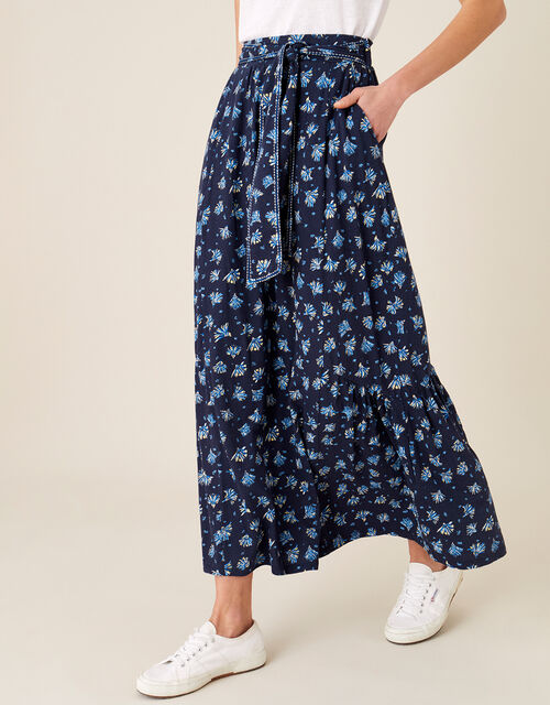 Floss Printed Maxi Skirt with Organic Cotton, Blue (NAVY), large