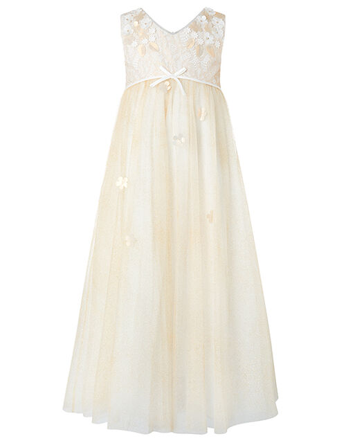 Lilly Gold Tulle and Lace Maxi Dress, Gold (GOLD), large