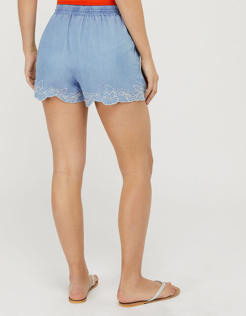 Bonnie Floral Embroidered Shorts, Blue (BLUE), large
