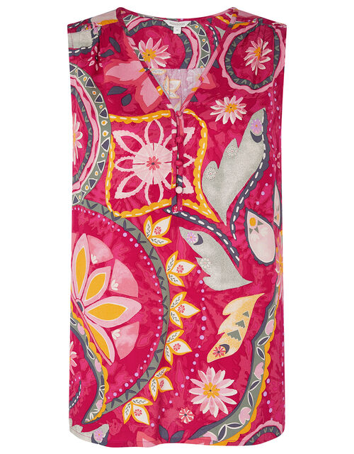 Rhonda Floral Sleeveless Top in LENZING™ ECOVERO™, Red (RED), large