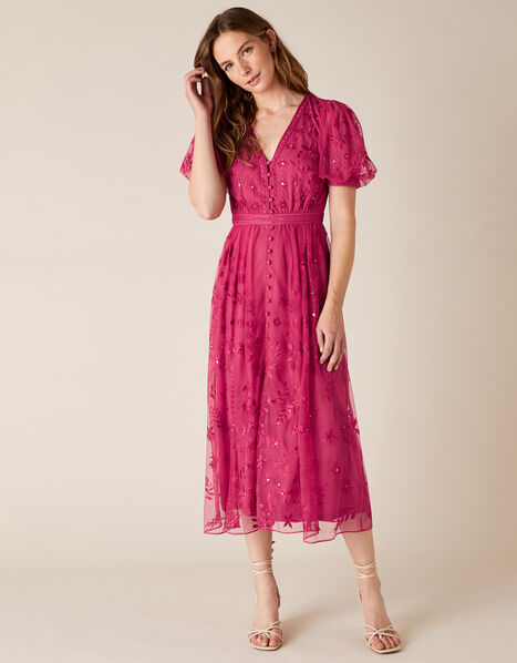 Valerie Sequin Embroidered Tea Dress Pink, Pink (PINK), large