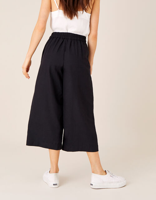 Cropped Trousers in Linen Blend, Black (BLACK), large