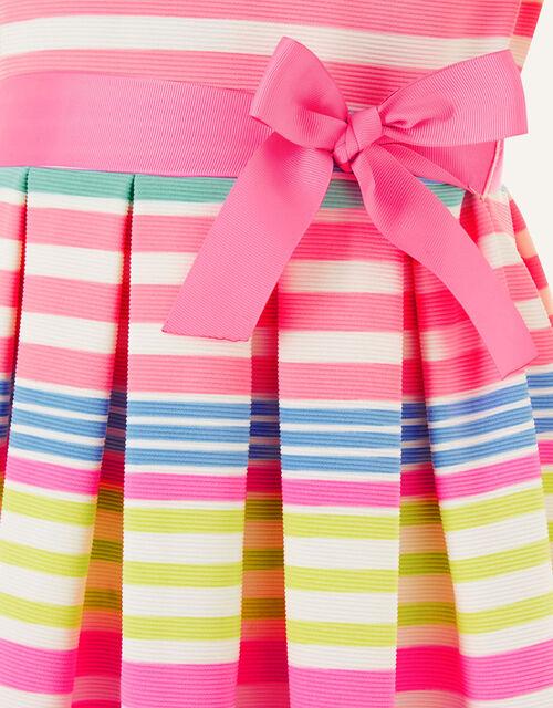 Stripe Pleated Ponte Dress, Multi (MULTI), large