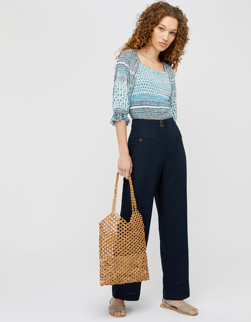 Charlotte Long Length Trousers in Linen Blend, Blue (NAVY), large