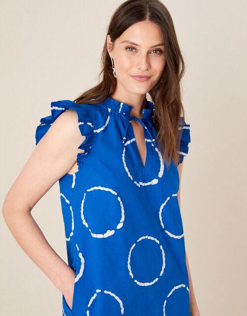 Tie-Dye Poplin Dress, Blue (BLUE), large