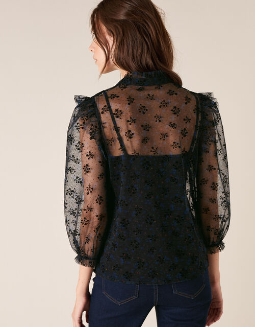 Floral Print Lace Blouse, Black (BLACK), large