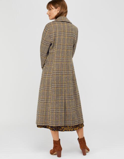 Anika Check Maxi Coat, Yellow, large