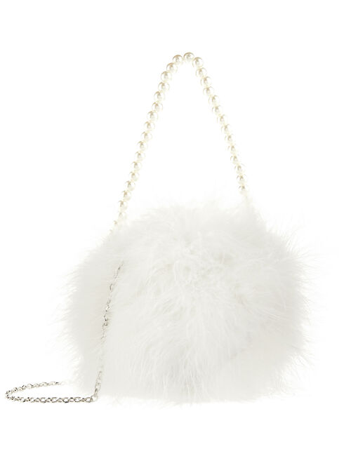 Marabou Fluffy Bag with Pearly Handle, , large