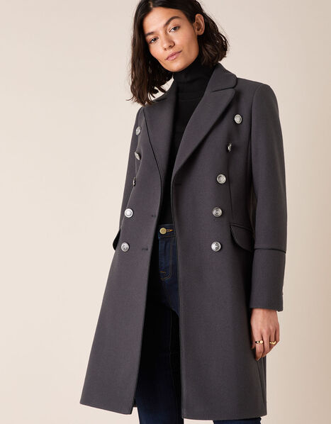Marie Military Coat Grey, Grey (CHARCOAL), large