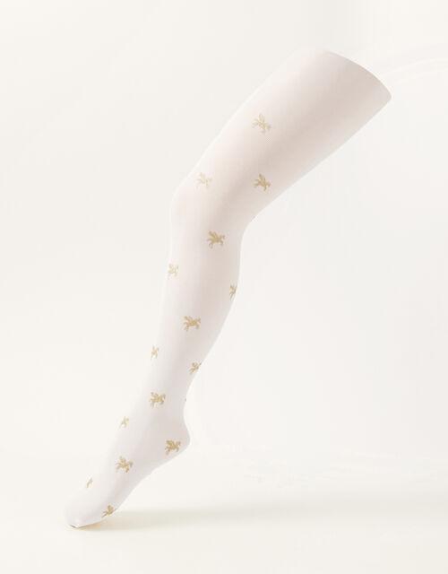 Glitter Unicorn Tights, Ivory (IVORY), large
