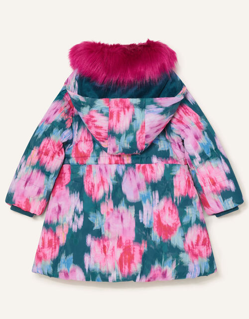 Blurred Floral Padded Coat, Teal (TEAL), large