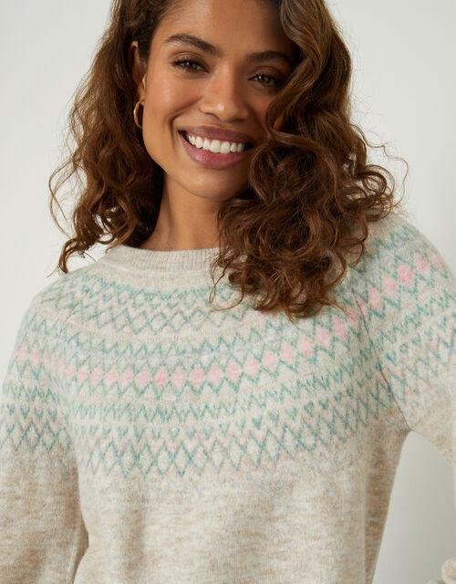 Fairisle Cosy Jumper with Recycled Polyester, Natural (NATURAL), large