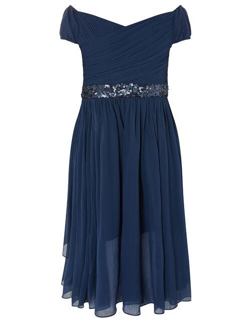 Abigail Bardot Prom Dress, Blue (NAVY), large
