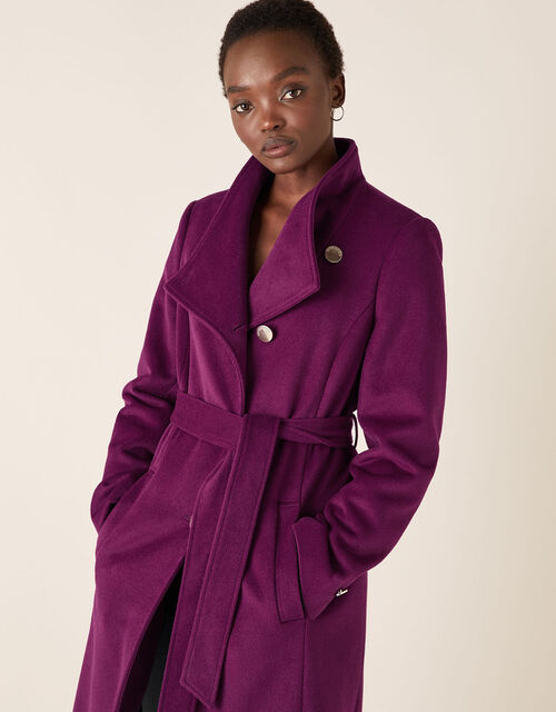 Rita Wrap Collar Long Coat , Purple (PURPLE), large