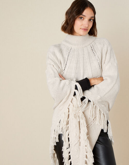 Tassel Cable Knit Poncho , , large