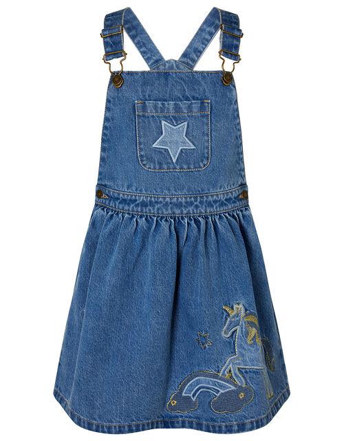 Unicorn Denim Pinny Dress, Blue (BLUE), large