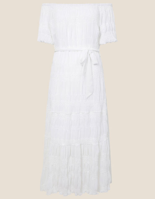 Plain Off-Shoulder Dress, White (WHITE), large