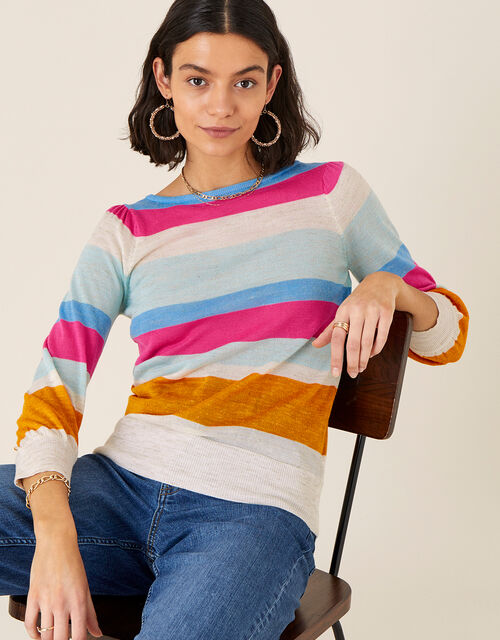Stripe Jumper in Linen Blend, Orange (ORANGE), large
