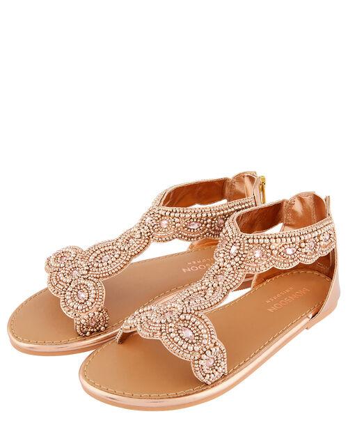 Embellished Metallic Sandals, Gold (ROSE GOLD), large