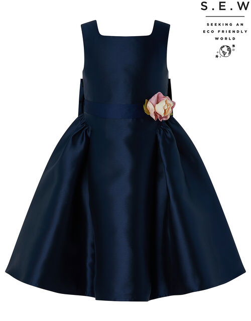 Cynthia Duchess Occasion Dress in Recycled Polyester, Blue (NAVY), large