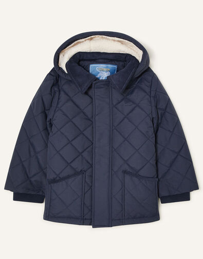 Cord Collar Quilted Coat Blue, Blue (NAVY), large