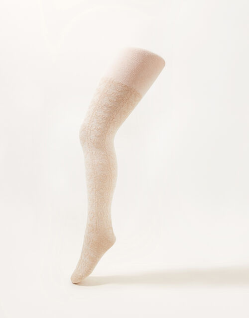 Sparkly Cable Tights, Pink (PINK), large