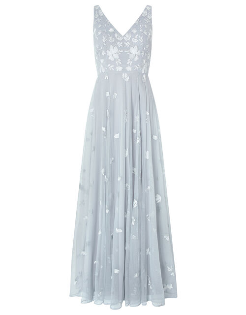 Clemence Embroidered Maxi Dress, Blue (BLUE), large