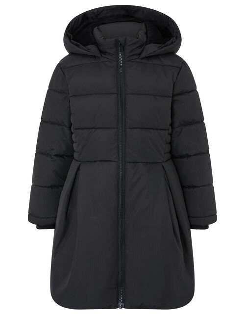 Flared Padded Coat with Recycled Fabric, Black (BLACK), large