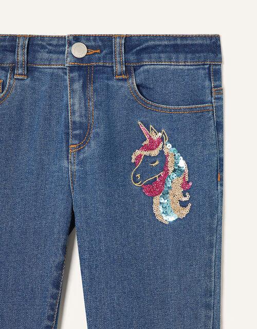 Sequin Unicorn Jeans, Blue (BLUE), large