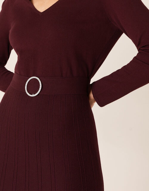 Belted Knit Midi Dress, Red (BERRY), large