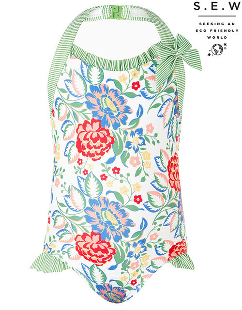 Rebecca Floral Swimsuit with Recycled Fabrics, Ivory (IVORY), large