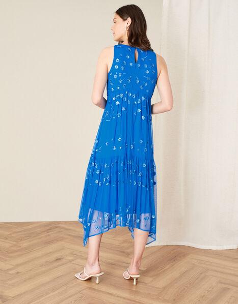Carmela Sequin Hanky Hem Dress Blue, Blue (BLUE), large